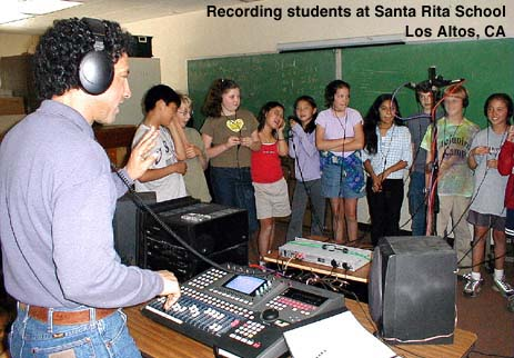 Photo of students recording their song at Santa Rita School